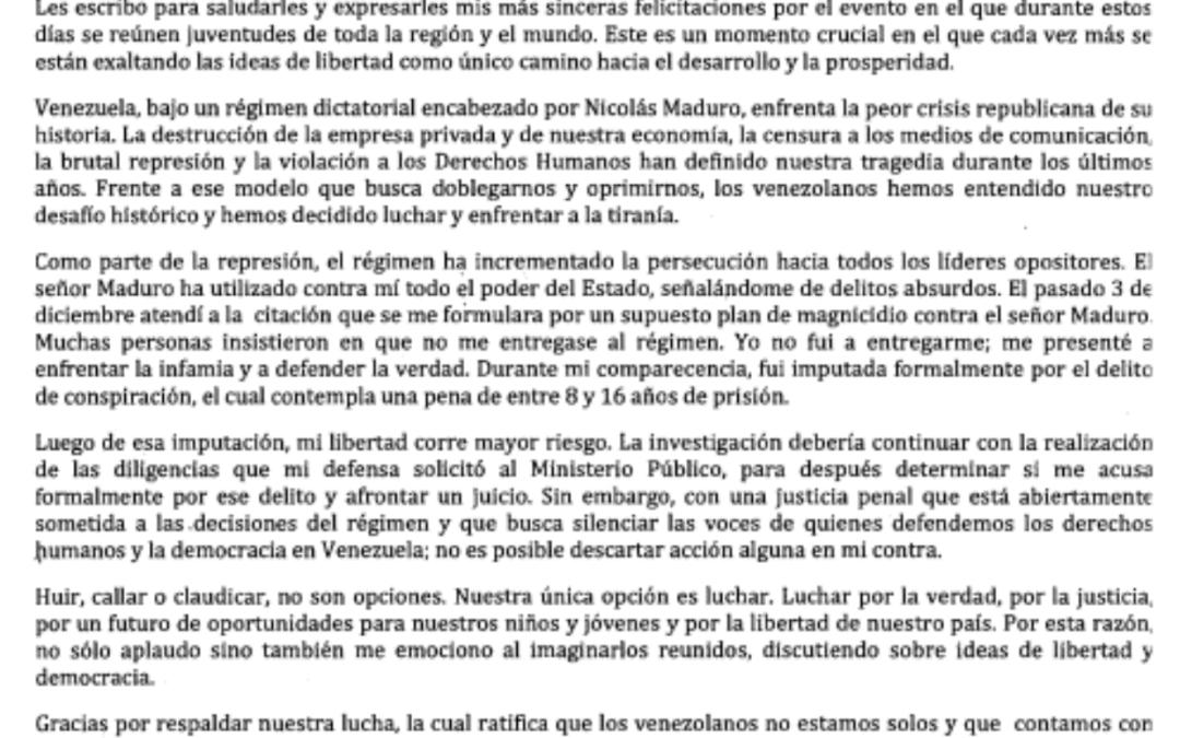 IFLRY: Support Venezuelan deputy María Corina Machado